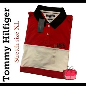 Tommy Hilfiger Red and White Stretch Polo Shirt